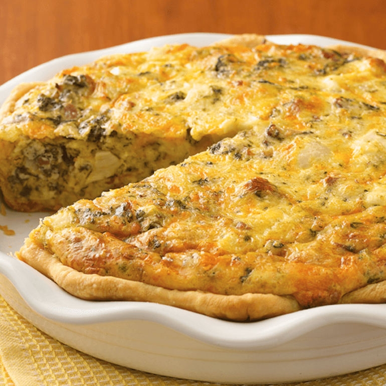 Chicken asiago spinach quiche